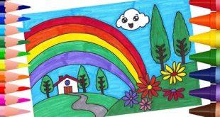 صوره رسم منظر طبيعي سهل للاطفال , تعليم الاطفال رسم المناظر الطبيعية