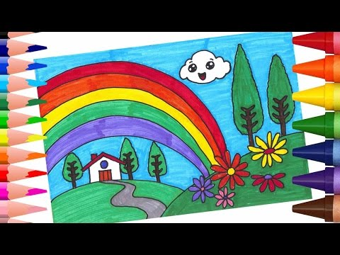 رسم منظر طبيعي سهل للاطفال تعليم الاطفال رسم المناظر الطبيعية حبيبي