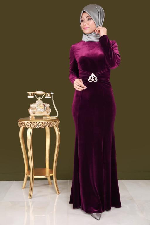 صورة موديلات فساتين مخمل , اجمل فستان مخمل للسهرة 2308 13