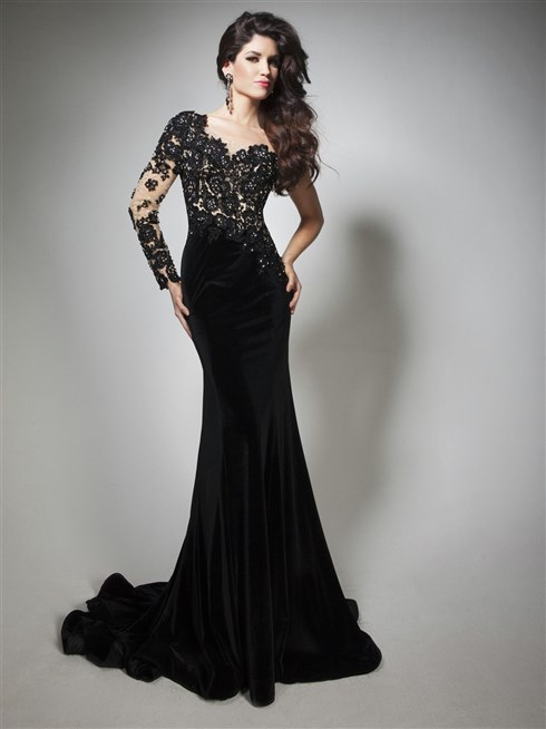 صورة موديلات فساتين مخمل , اجمل فستان مخمل للسهرة 2308 14