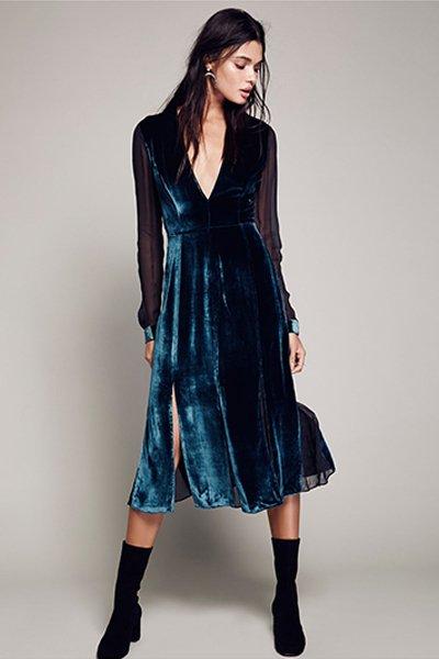 صورة موديلات فساتين مخمل , اجمل فستان مخمل للسهرة 2308 15