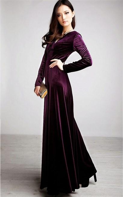 صورة موديلات فساتين مخمل , اجمل فستان مخمل للسهرة 2308 16