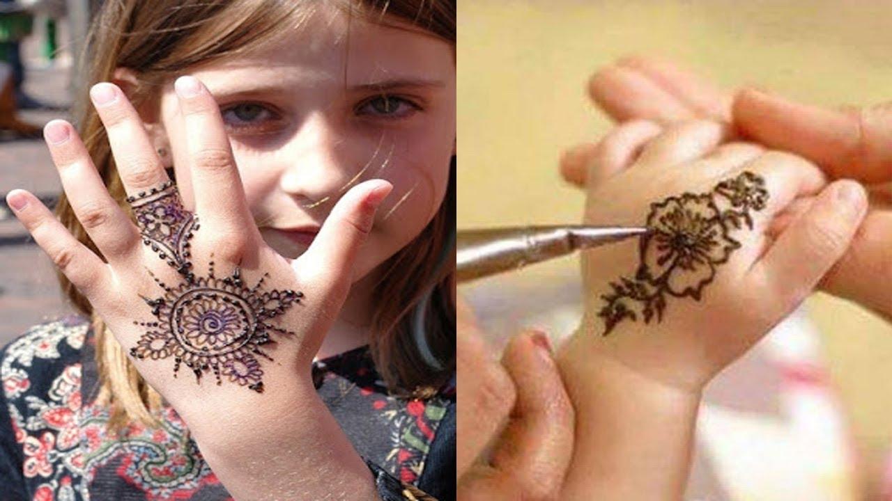 صور رسومات حنة للاطفال , دللي طفلتك باجمل رسم للحنة على يديها الصغيرة