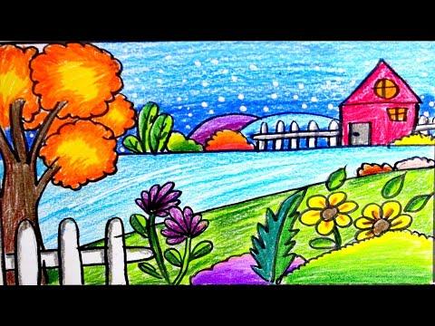 رسم منظر طبيعي للاطفال لوحات من الطبيعه برسم الصغار حبيبي